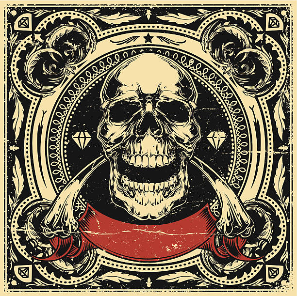 Skull and bones Skull and bones in square ornament pattern. voodoo stock illustrations