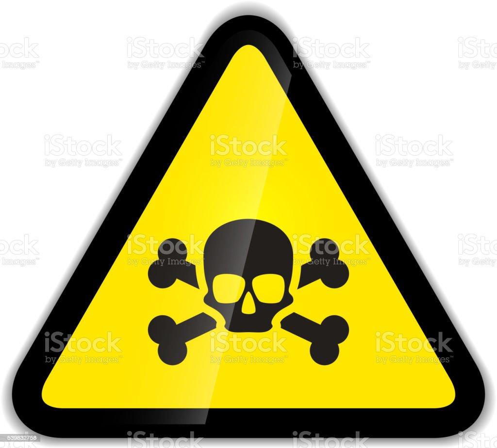Skull and bones warning sign isolated on white vector art illustration