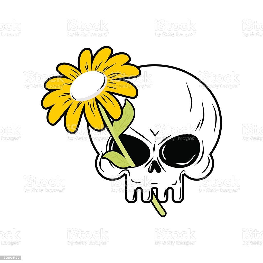 Schädel Und Kamille Weiße Blume Und Tod Kopf Der Skelett Stock ...