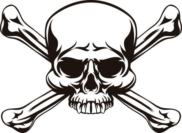 schädel und cross bones zeichen - totenkopf tattoos stock-grafiken, -clipart, -cartoons und -symbole
