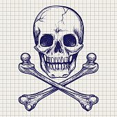 Skull and crossbones ball pen sketch