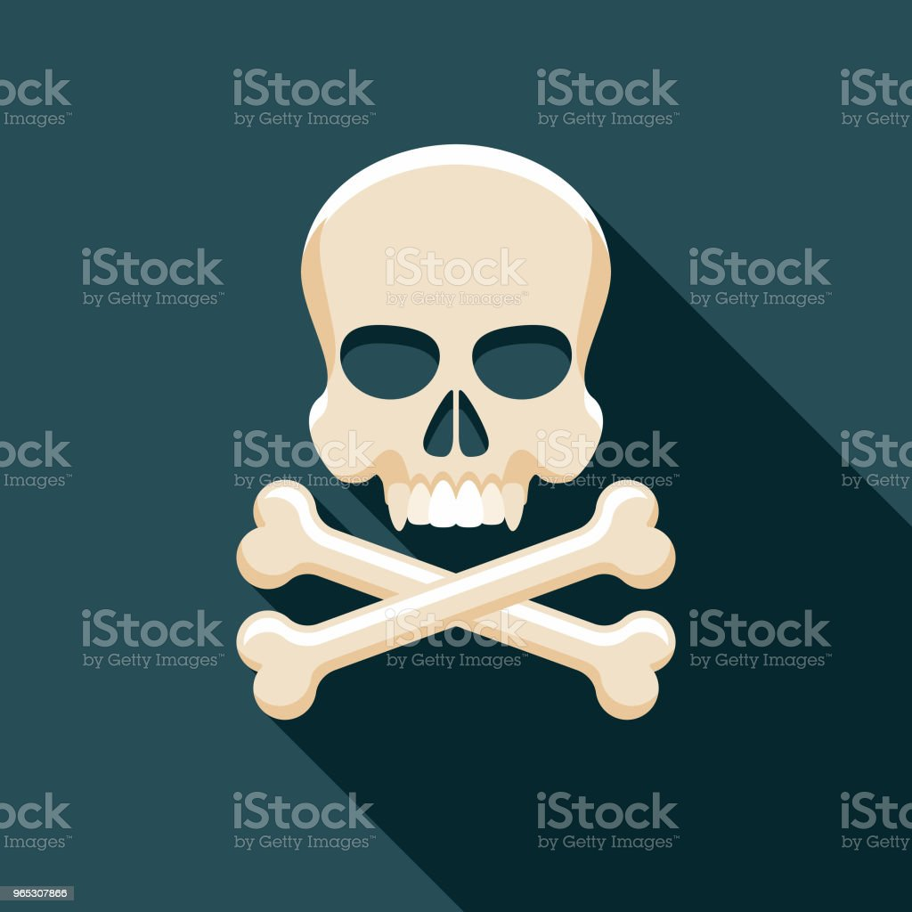 Skull and Crossbones Flat Design Fantasy Icon royalty-free skull and crossbones flat design fantasy icon stock vector art & more images of adventure