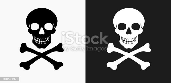 istock Skull and Crossbones Icon on Black and White Vector Backgrounds 700521970
