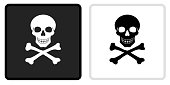 Skull and Crossbones Icon on  Black Button with White Rollover. This vector icon has two  variations. The first one on the left is dark gray with a black border and the second button on the right is white with a light gray border. The buttons are identical in size and will work perfectly as a roll-over combination.