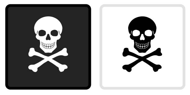Skull and Crossbones Icon on  Black Button with White Rollover vector art illustration