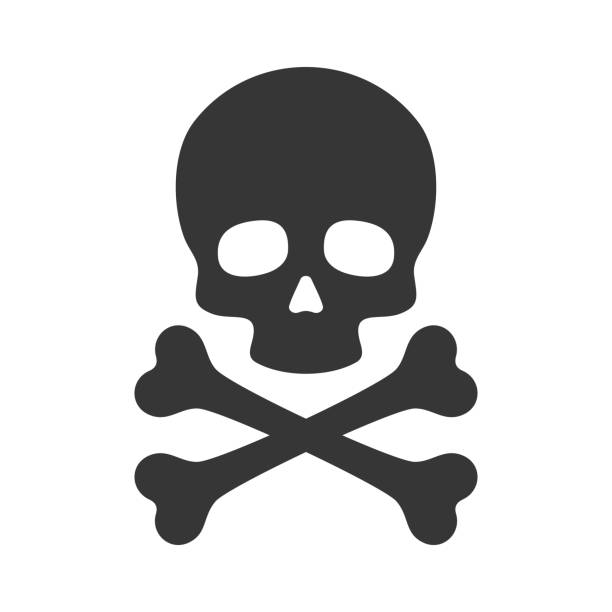 stockillustraties, clipart, cartoons en iconen met skull and crossbones icon on white background. vector - vervuiling