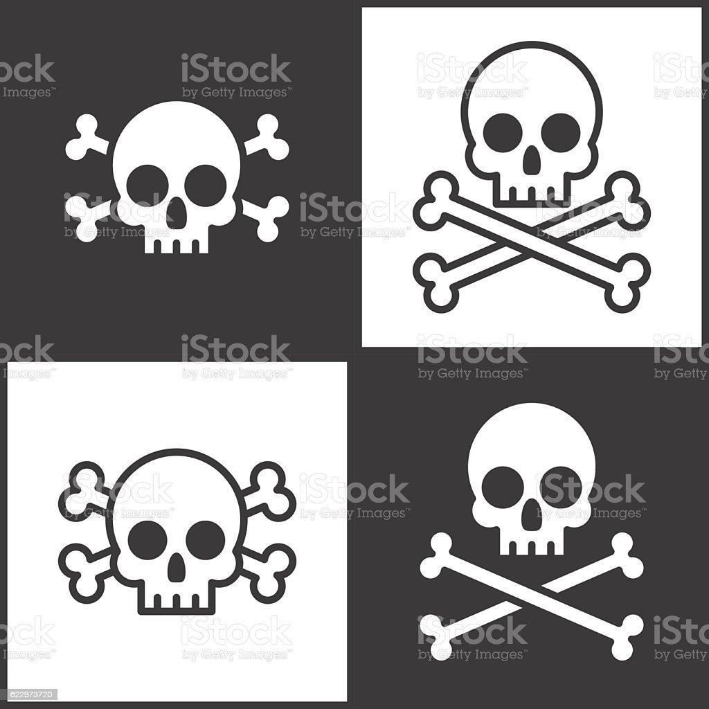 Skull and crossbones icon vector art illustration