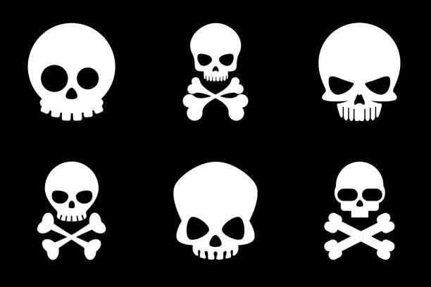 Totenkopf-icons im Comic-Stil – Vektorgrafik