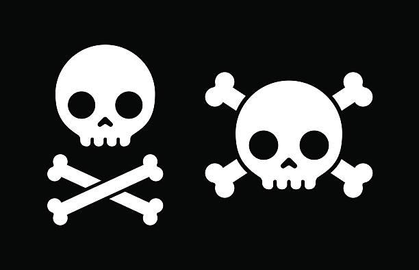 Skull and crossbones icons Simple cartoon skull and crossbones icons, two design variants. death stock illustrations