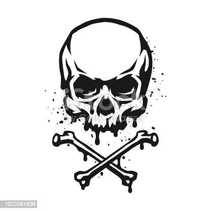 Skull and crossbones in grunge style. Vector illustration.