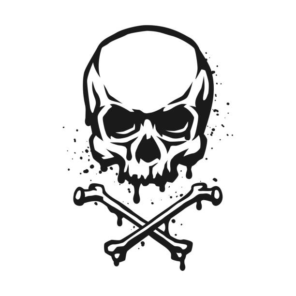 stockillustraties, clipart, cartoons en iconen met skull and crossbones in grunge stijl. - vervuiling