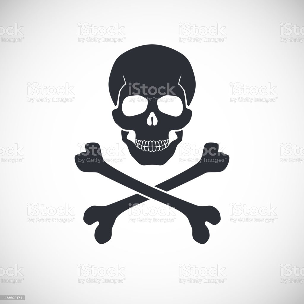 Skull and crossbones sign. vector art illustration