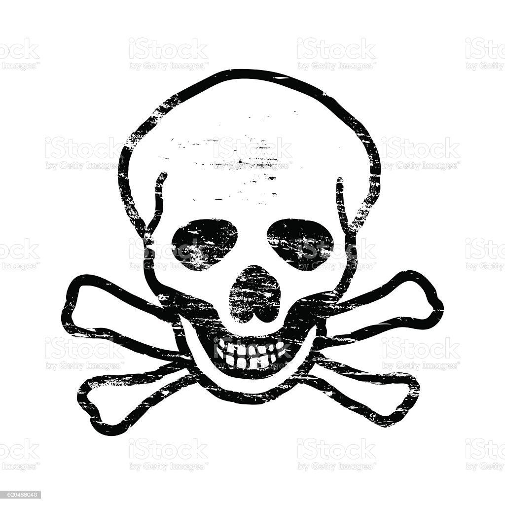 Skull And Crossbones Stamp vector art illustration