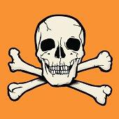 Skull and crossbones representing danger, poison, warning, alertness, halloween...