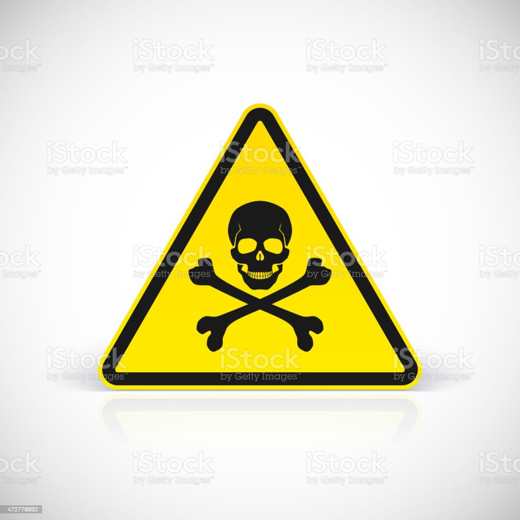 Skull and crossbones warning hazard sign vector art illustration