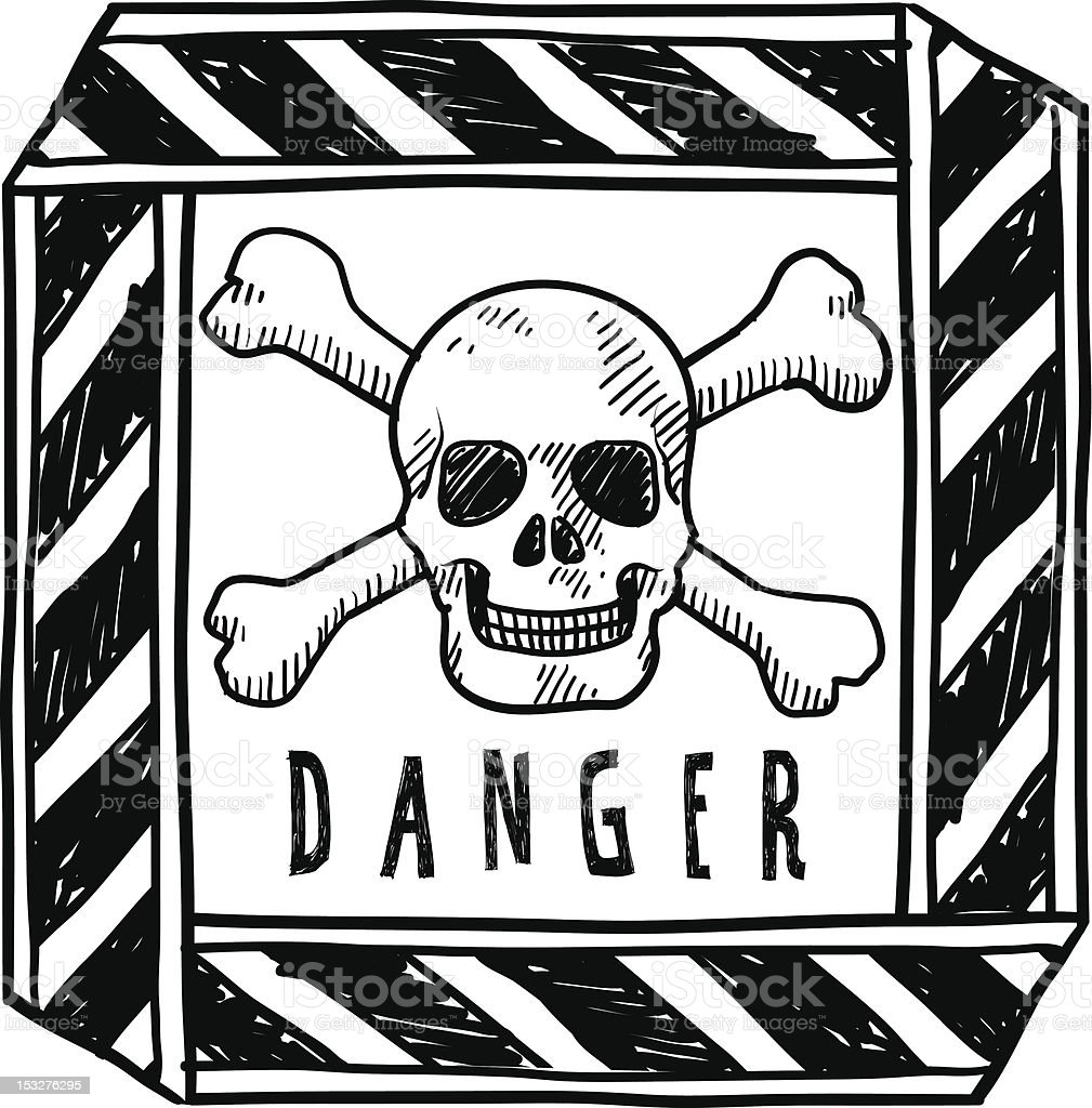 Skull and crossbones warning sign sketch vector art illustration