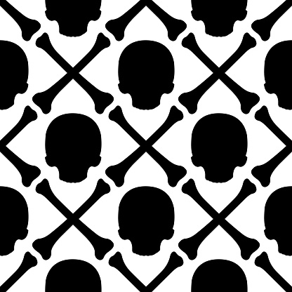 Skull and crossed bones filled pattern. Black vector isolated seamless pattern on white background.