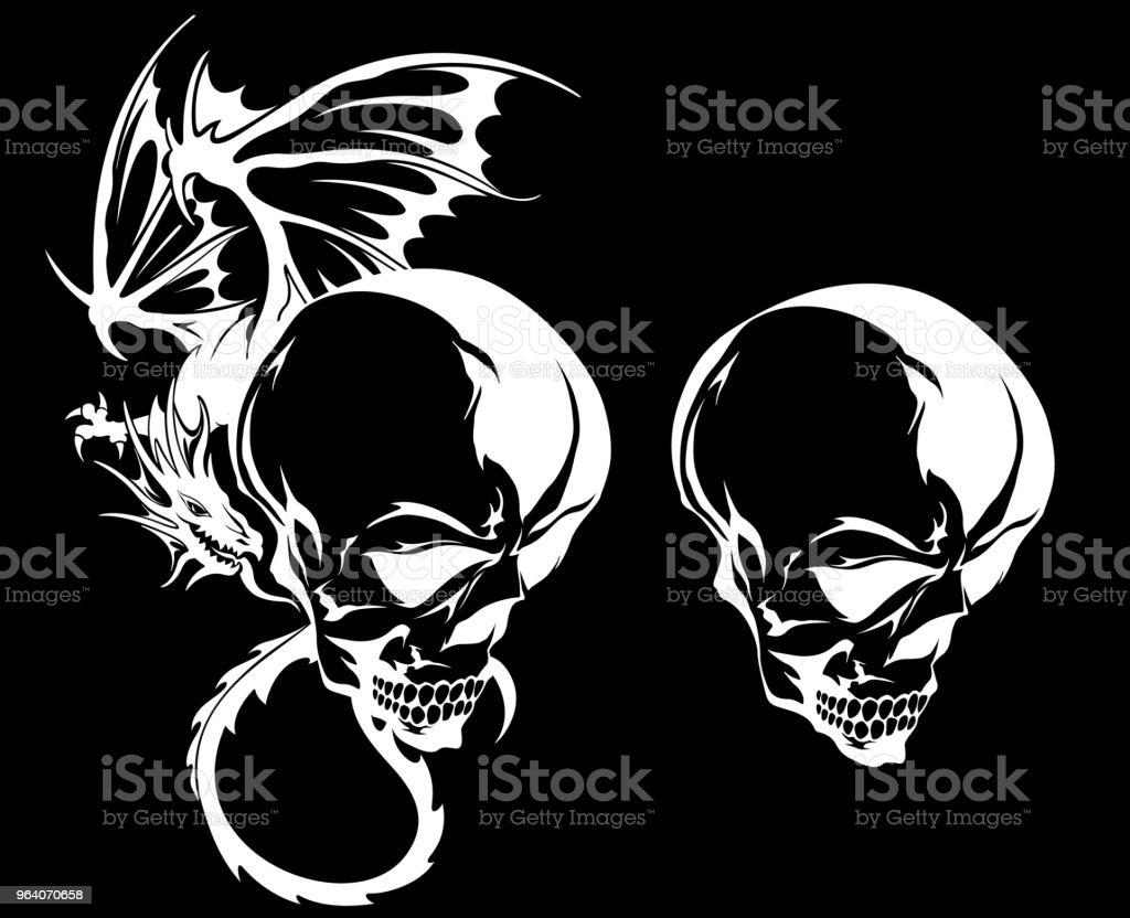 skull and dragon illustration, - Royalty-free Animal stock vector