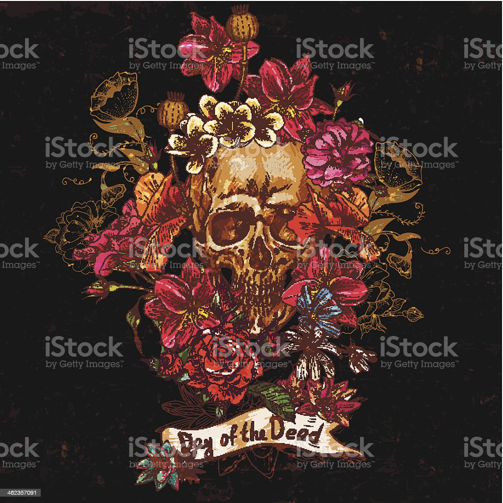 Skull and Flowers Day of The Dead vector art illustration