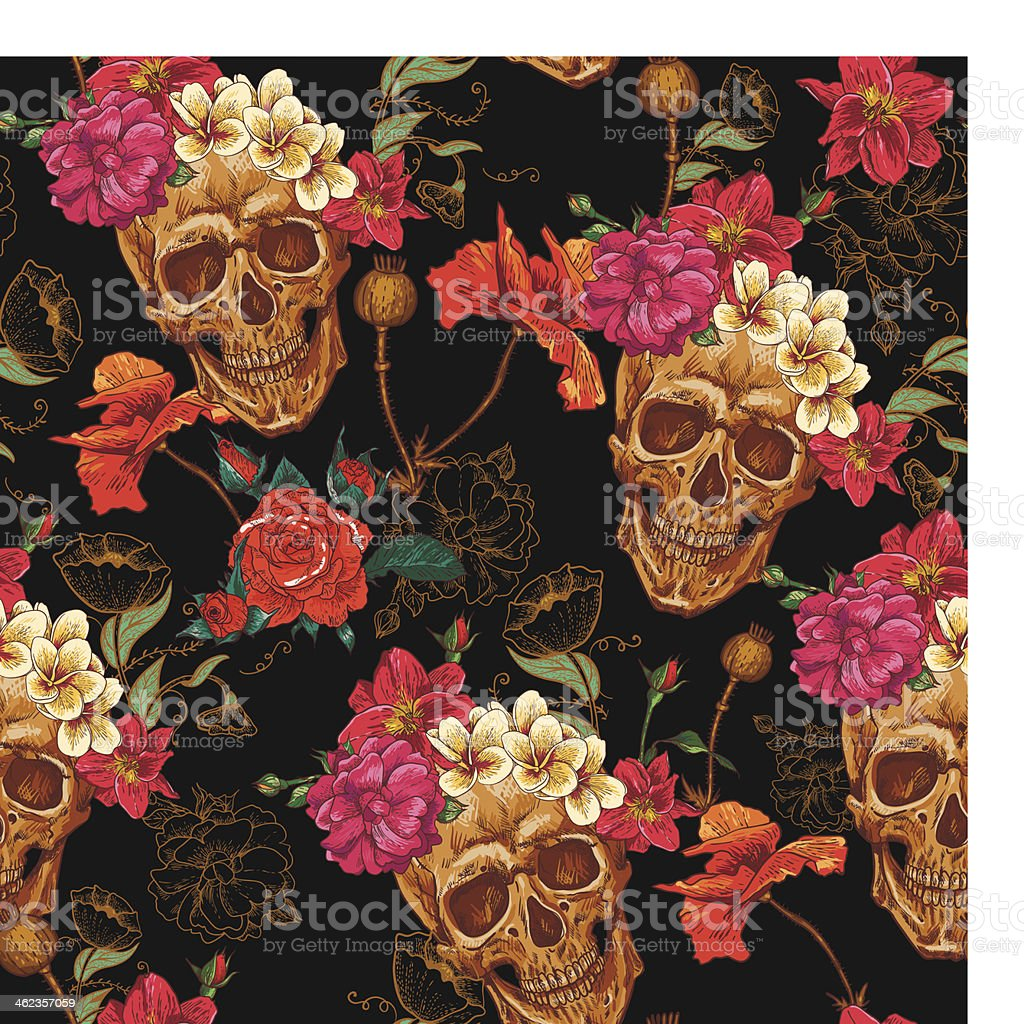 Cráneo y flores sin costuras fondo - ilustración de arte vectorial