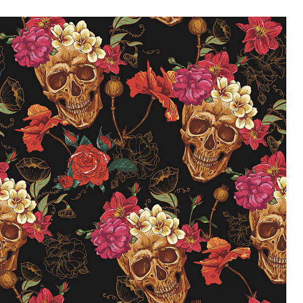 Skull and Flowers Seamless Background Skull and Flowers Seamless Background voodoo stock illustrations