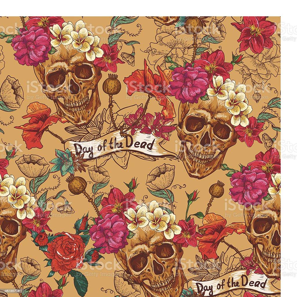 Skull and Flowers Seamless Background vector art illustration