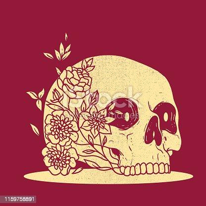 Skull and flowers vector illustration.