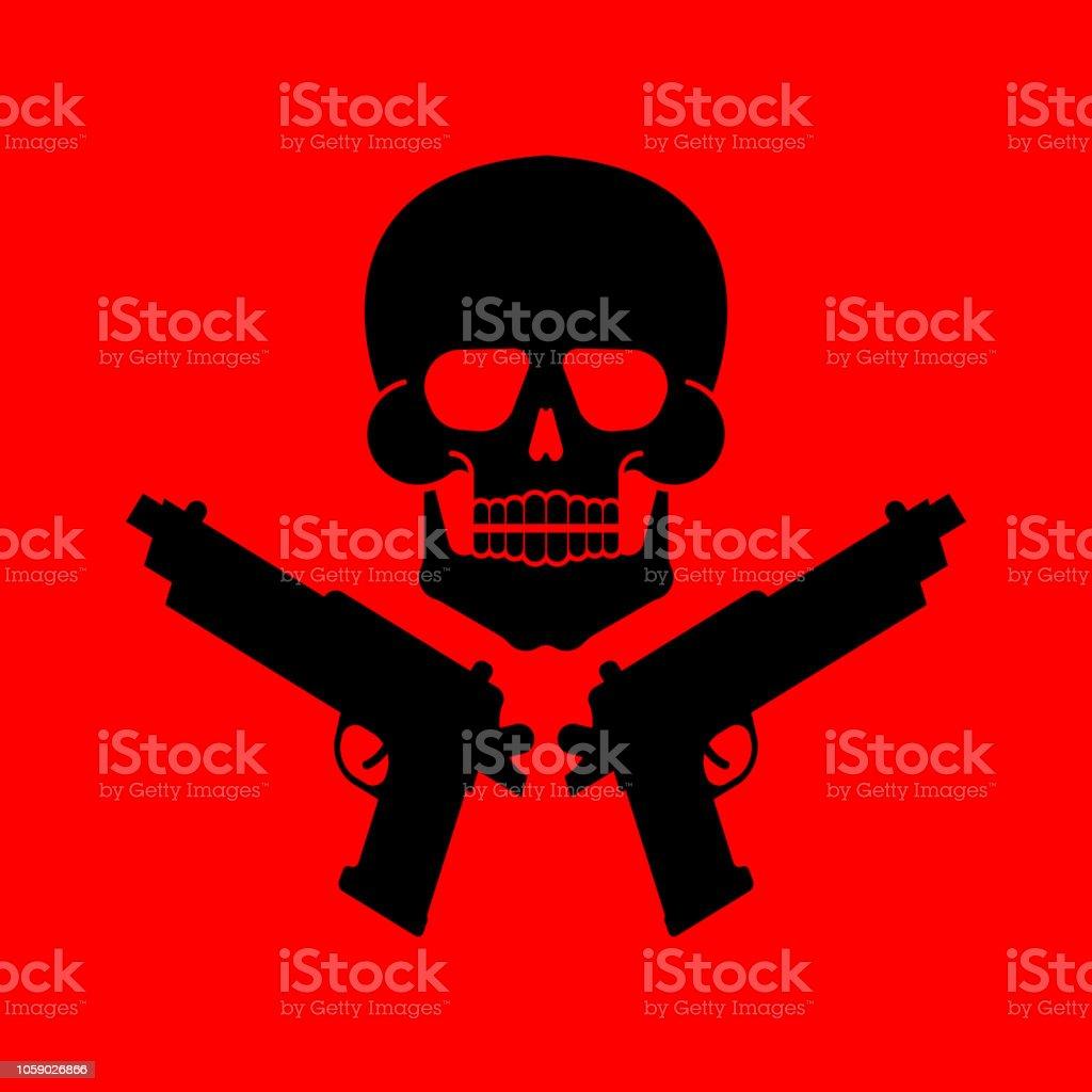 Skull And Gun Symbol Army Sign Vector Illustration Stock