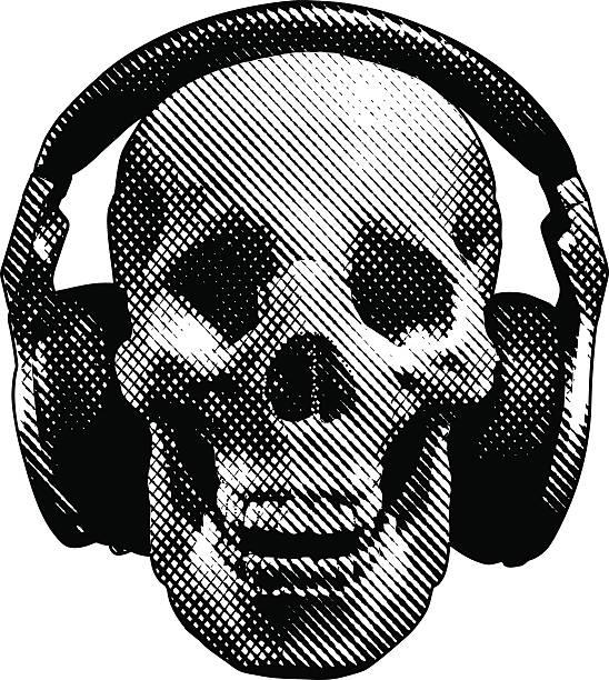 totenkopf und kopfhörer - punk stock-grafiken, -clipart, -cartoons und -symbole