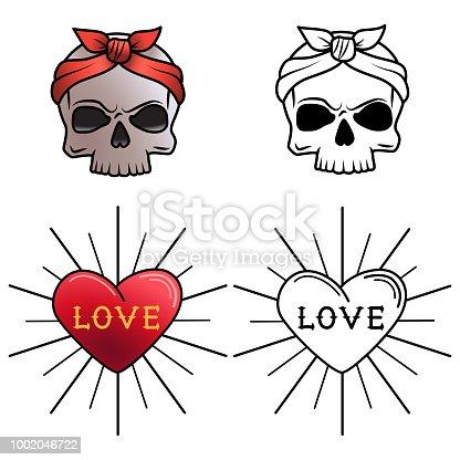 Ilustración de Página Para Colorear De Tatuaje De Cráneo Y El ...