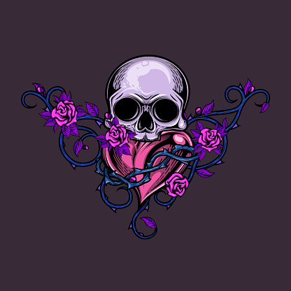 Skull and heart with floral arrangement.
