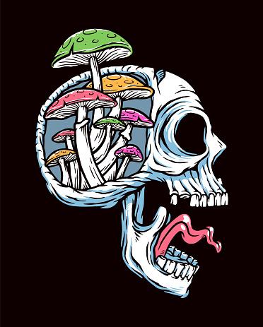 Skull and mushroom vector illustration