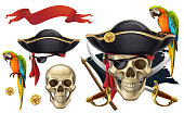 Pirate boy character or mascot cartoon with a parrot at his arm, fun vector illustration