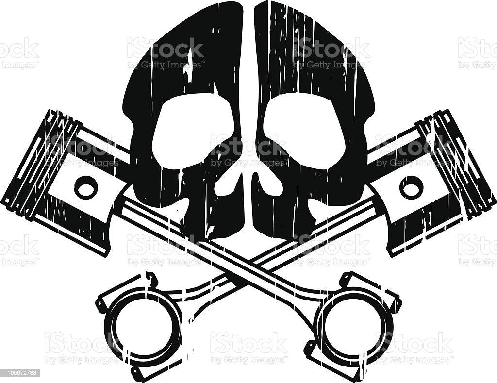 skull and pistons vector art illustration