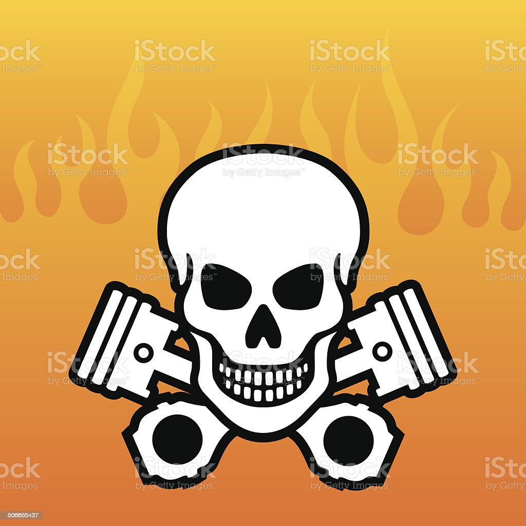 Skull and Pistons with flames vector art illustration