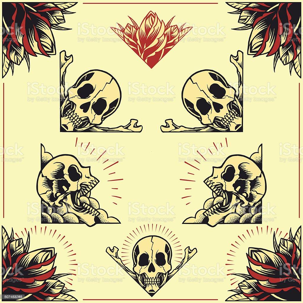 Skull and Rose Frames set 01 vector art illustration