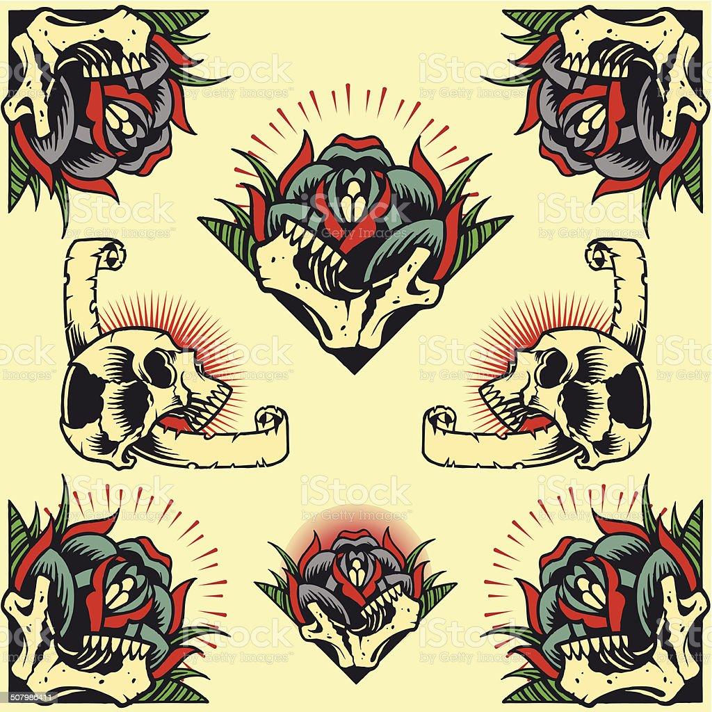Skull and Rose Frames vector art illustration