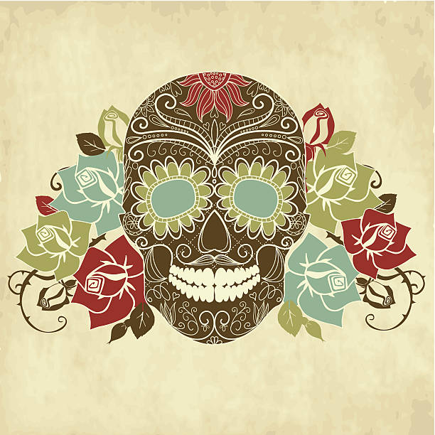 Skull and roses, Colorful Day of the Dead card vector art illustration