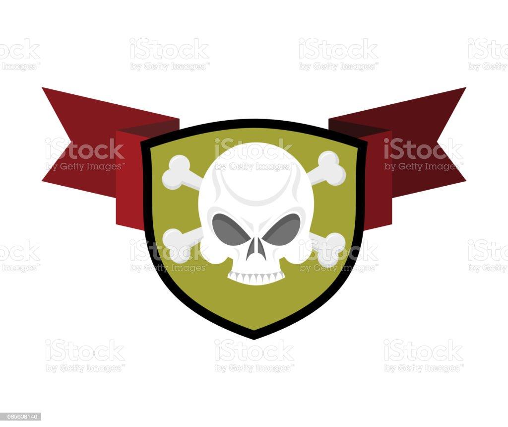Skull and shield. Crossed bones and skeleton head emblem. Heraldry sign. royalty-free skull and shield crossed bones and skeleton head emblem heraldry sign 곡선에 대한 스톡 벡터 아트 및 기타 이미지