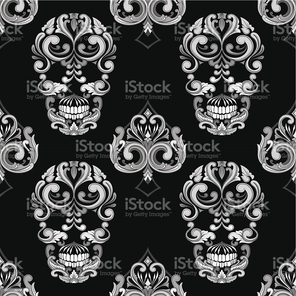 Skull and Spades Ornamental Pattern vector art illustration