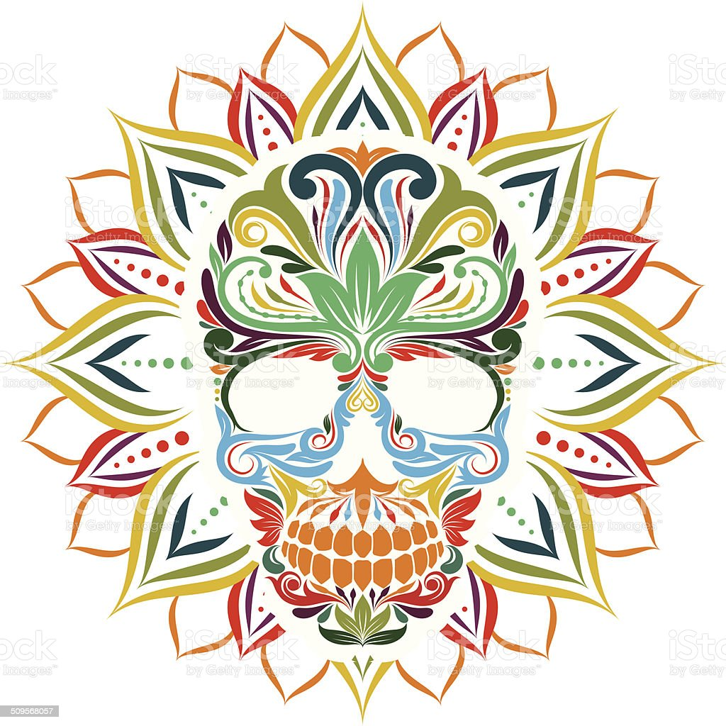 Skull and Sun Flower vector art illustration