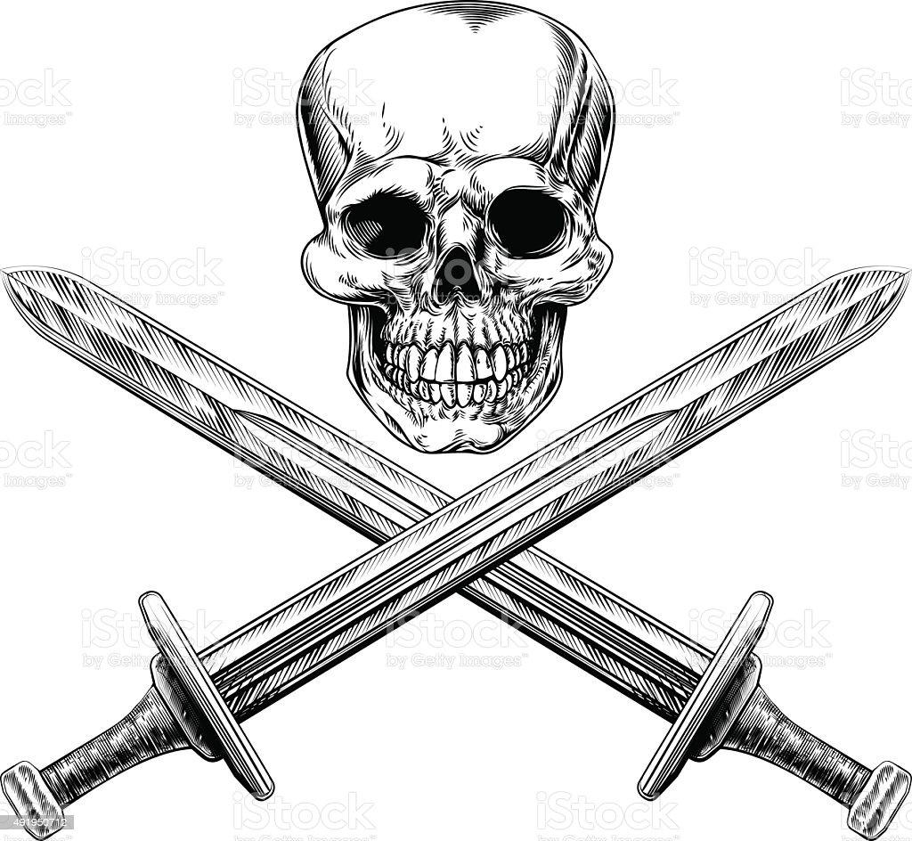 Skull and Swords Pirate Sign vector art illustration
