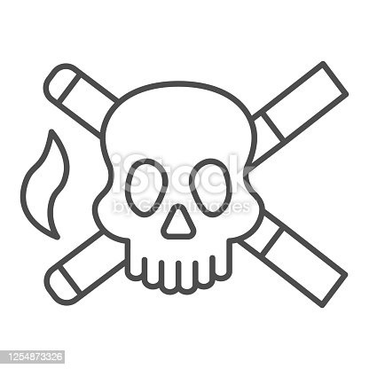 istock Skull and two cigarettes thin line icon, Smoking concept, cross sign of cigarette with skull on white background, crossed cigarettes with dead head icon in outline style. Vector graphics. 1254873326