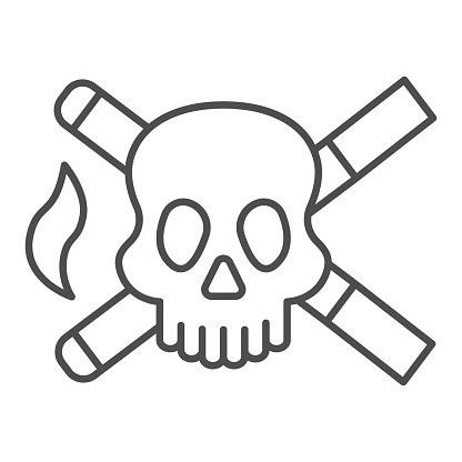 Skull and two cigarettes thin line icon, Smoking concept, cross sign of cigarette with skull on white background, crossed cigarettes with dead head icon in outline style. Vector graphics.