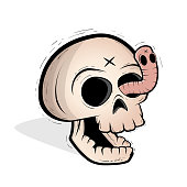 skull and worm vector clipart