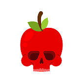 istock Skull apple isolated. skeleton Deadly scary fruit vector illustration 1328820806