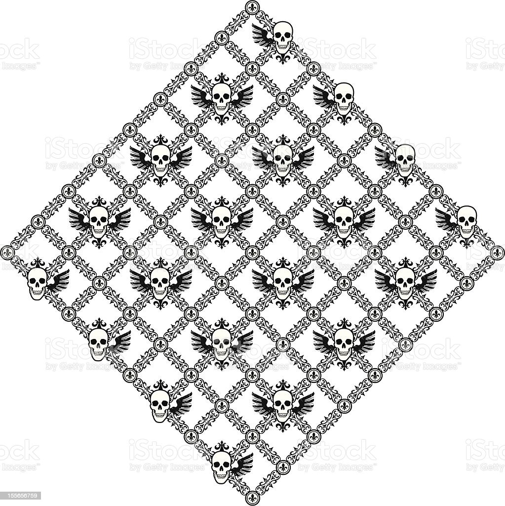 Skull Argyle with Wings royalty-free stock vector art