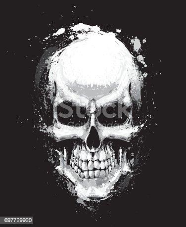 Skull Artistic Splatter Black n White