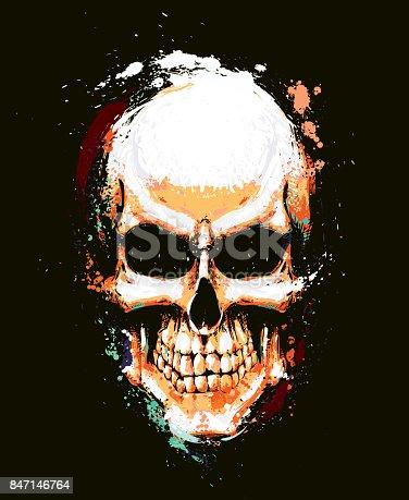 Skull Artistic Splatter Orange n Green