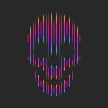 Skull artwork fashion t-shirt print emblem or grange sticker, optical illusion gradient lines striped shape hipster logo black background